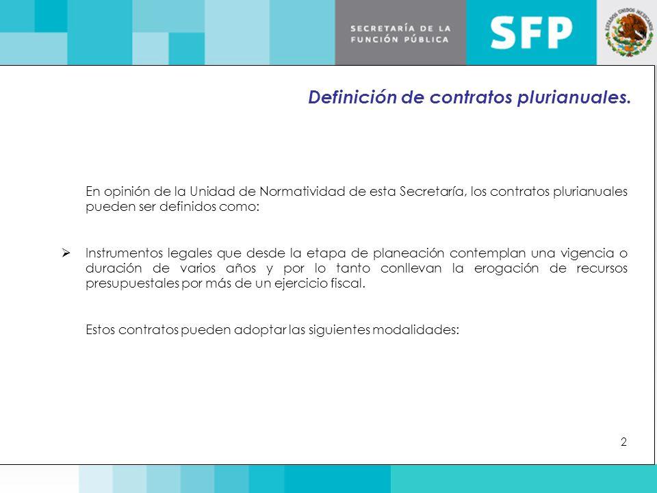 En opinión de la Unidad de Normatividad de esta Secretaría, los contratos plurianuales pueden ser definidos como:  Instrumentos legales que desde la