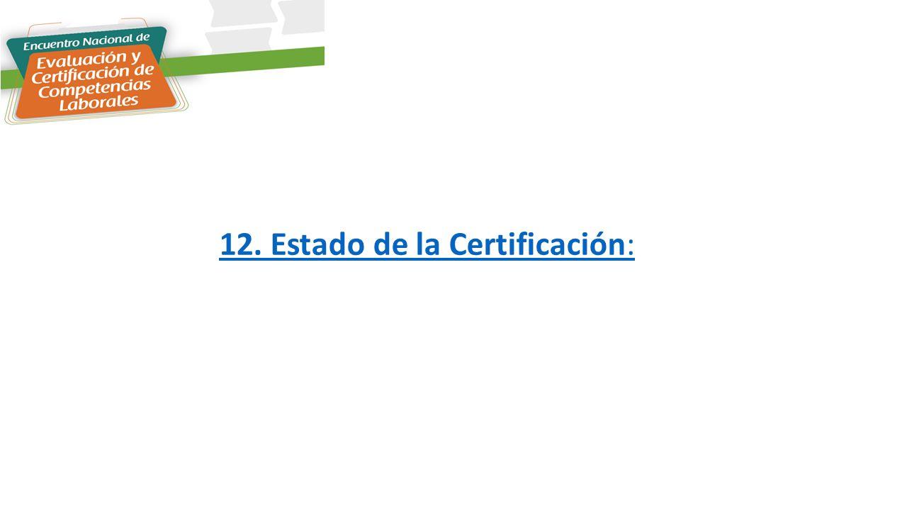 12. Estado de la Certificación: