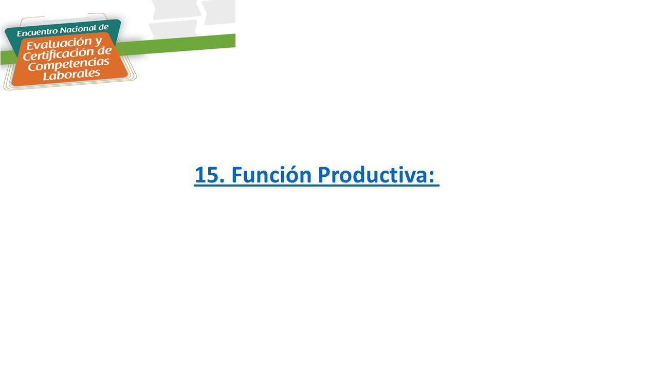 15. Función Productiva: