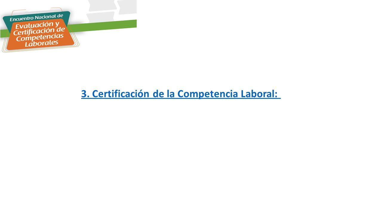 3. Certificación de la Competencia Laboral: