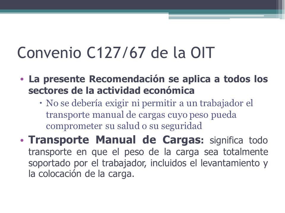 Convenio C127/67 de la OIT La presente Recomendación se aplica a todos los sectores de la actividad económica  No se debería exigir ni permitir a un