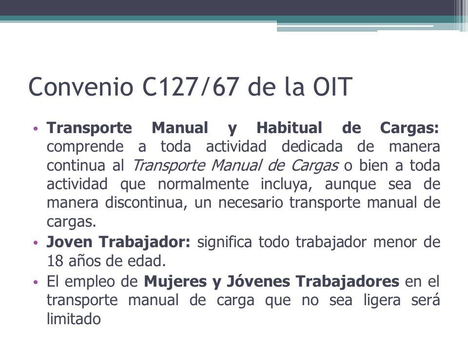 Convenio C127/67 de la OIT Transporte Manual y Habitual de Cargas: comprende a toda actividad dedicada de manera continua al Transporte Manual de Carg