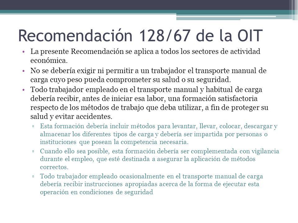 Recomendación 128/67 de la OIT La presente Recomendación se aplica a todos los sectores de actividad económica. No se debería exigir ni permitir a un