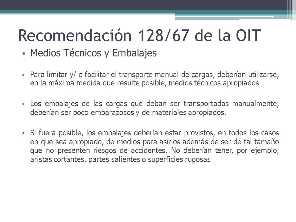 Recomendación 128/67 de la OIT Medios Técnicos y Embalajes Para limitar y/ o facilitar el transporte manual de cargas, deberían utilizarse, en la máxi