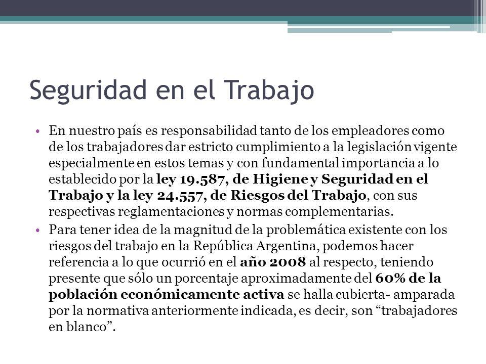 Seguridad en el Trabajo En nuestro país es responsabilidad tanto de los empleadores como de los trabajadores dar estricto cumplimiento a la legislació