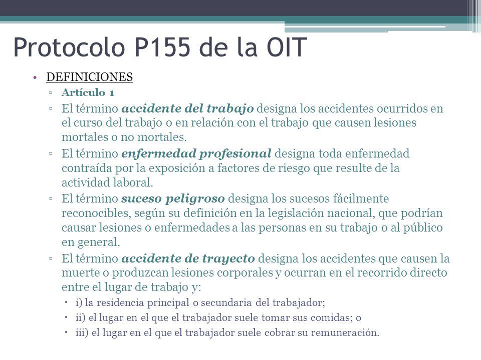 Protocolo P155 de la OIT DEFINICIONES ▫Artículo 1 ▫El término accidente del trabajo designa los accidentes ocurridos en el curso del trabajo o en rela