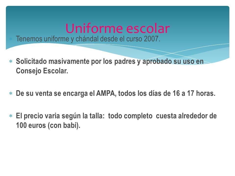 Cooperativas: E.infantil: 40 euros (material). E.