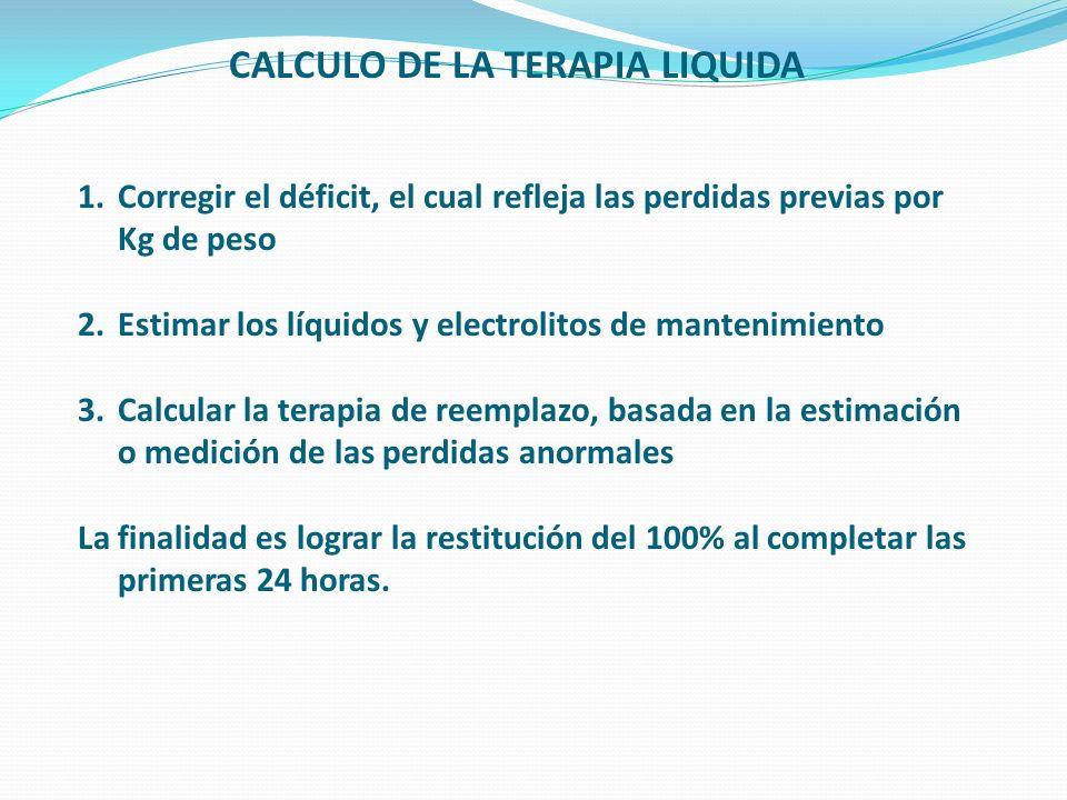 CALCULO DE LA TERAPIA LIQUIDA 1.Corregir el déficit, el cual refleja las perdidas previas por Kg de peso 2.Estimar los líquidos y electrolitos de mant