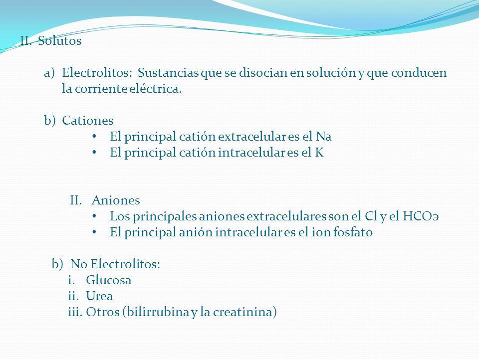 II.Solutos a)Electrolitos: Sustancias que se disocian en solución y que conducen la corriente eléctrica. b)Cationes El principal catión extracelular e