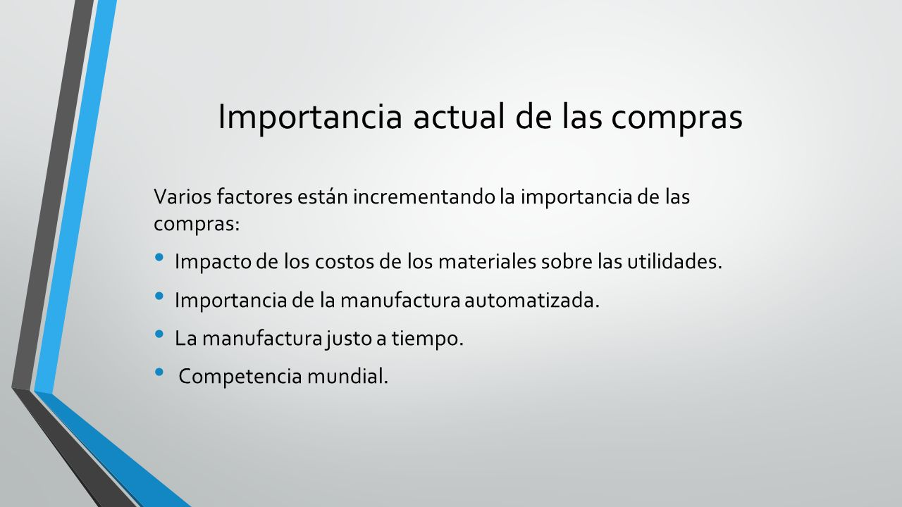 Importancia actual de las compras Varios factores están incrementando la importancia de las compras: Impacto de los costos de los materiales sobre las
