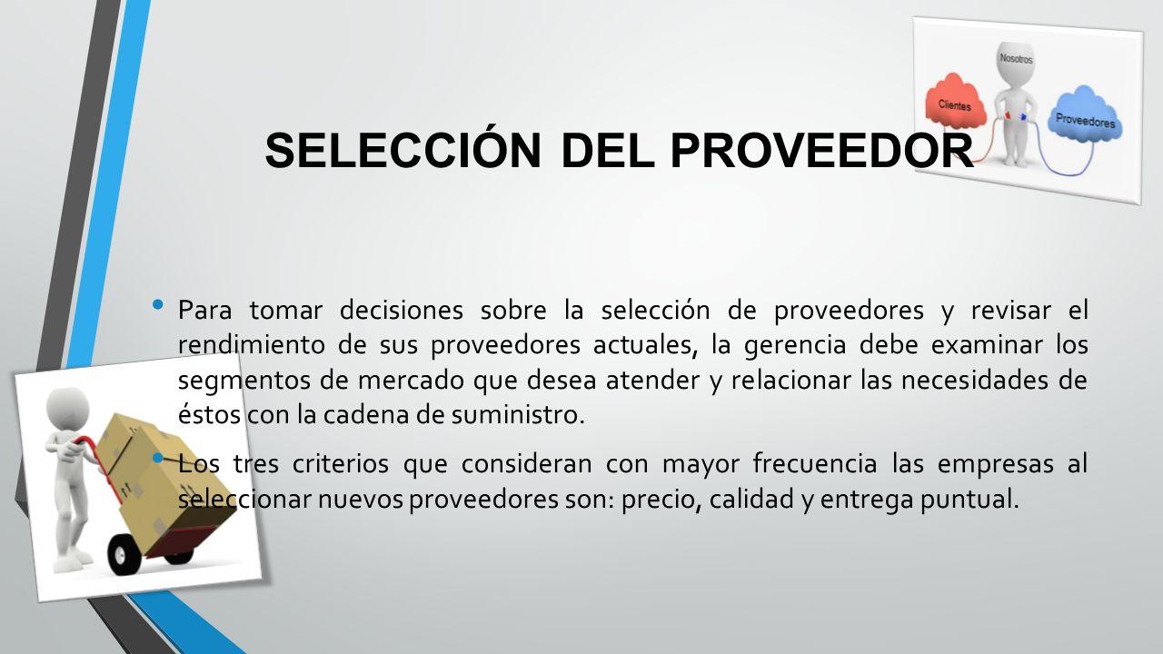 SELECCIÓN DEL PROVEEDOR Para tomar decisiones sobre la selección de proveedores y revisar el rendimiento de sus proveedores actuales, la gerencia debe