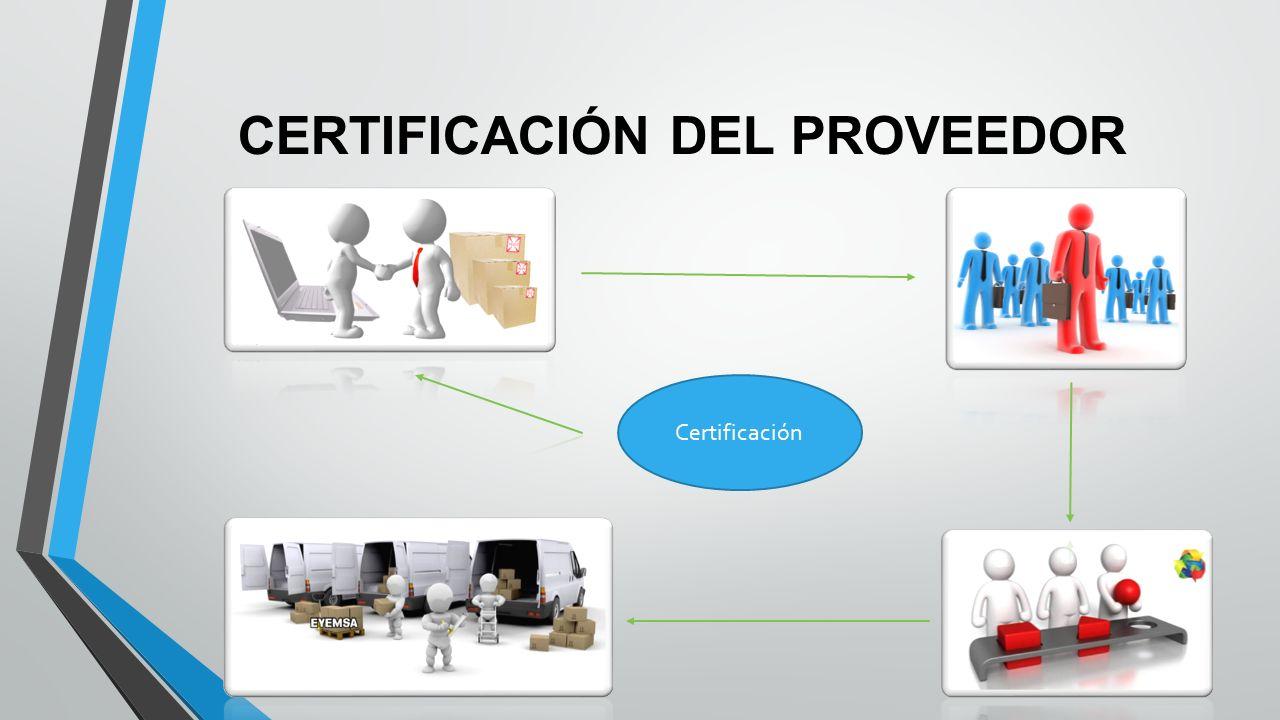 CERTIFICACIÓN DEL PROVEEDOR Certificación