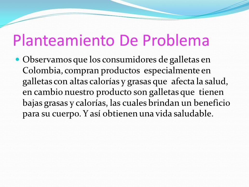 Planteamiento De Problema Observamos que los consumidores de galletas en Colombia, compran productos especialmente en galletas con altas calorías y grasas que afecta la salud, en cambio nuestro producto son galletas que tienen bajas grasas y calorías, las cuales brindan un beneficio para su cuerpo.