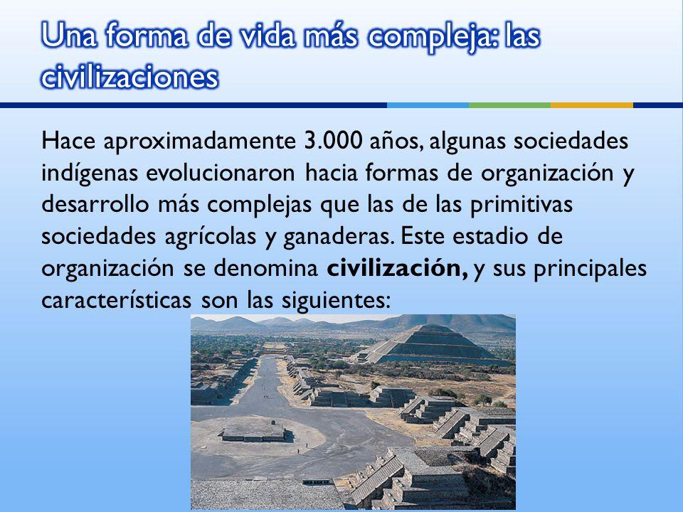 Hace aproximadamente 3.000 años, algunas sociedades indígenas evolucionaron hacia formas de organización y desarrollo más complejas que las de las primitivas sociedades agrícolas y ganaderas.