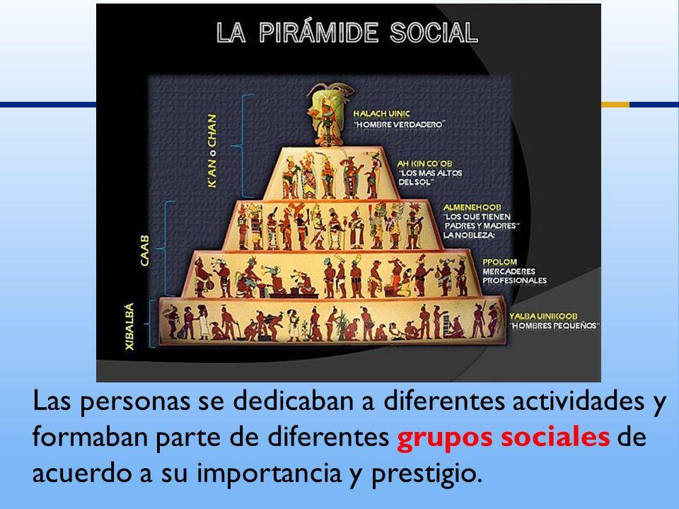 Las personas se dedicaban a diferentes actividades y formaban parte de diferentes grupos sociales de acuerdo a su importancia y prestigio.