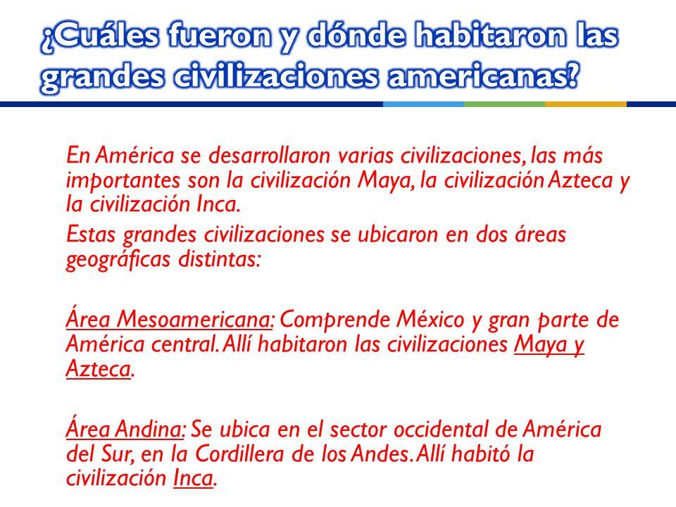 En América se desarrollaron varias civilizaciones, las más importantes son la civilización Maya, la civilización Azteca y la civilización Inca.