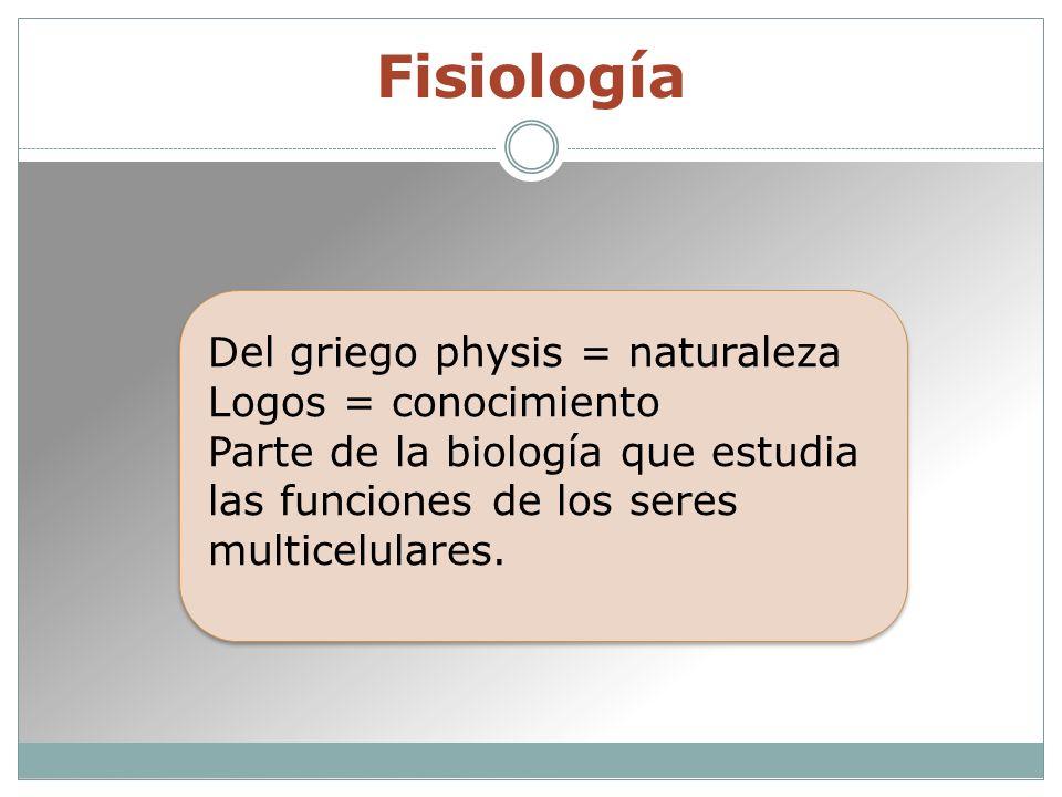 Fisiología Del griego physis = naturaleza Logos = conocimiento Parte de la biología que estudia las funciones de los seres multicelulares.