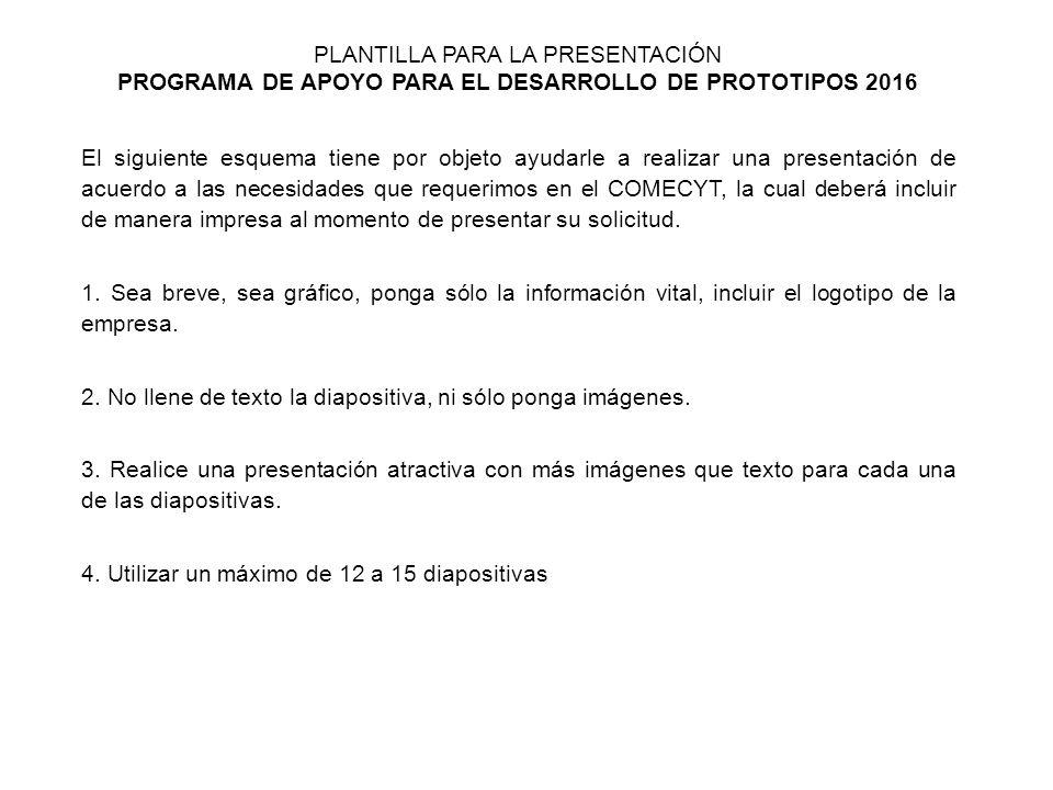 PLANTILLA PARA LA PRESENTACIÓN PROGRAMA DE APOYO PARA EL ...