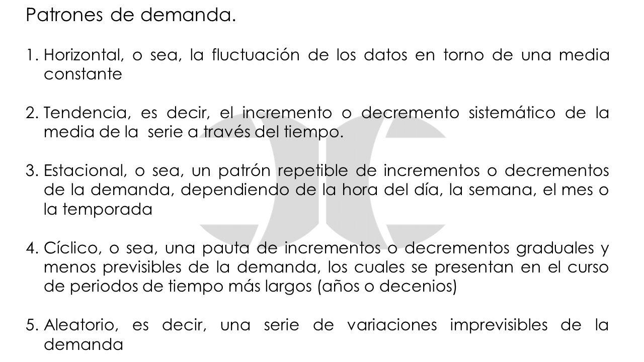 Patrones de demanda. 1.Horizontal, o sea, la fluctuación de los datos en torno de una media constante 2.Tendencia, es decir, el incremento o decrement