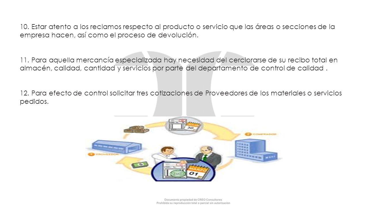 10. Estar atento a los reclamos respecto al producto o servicio que las áreas o secciones de la empresa hacen, así como el proceso de devolución. 11.