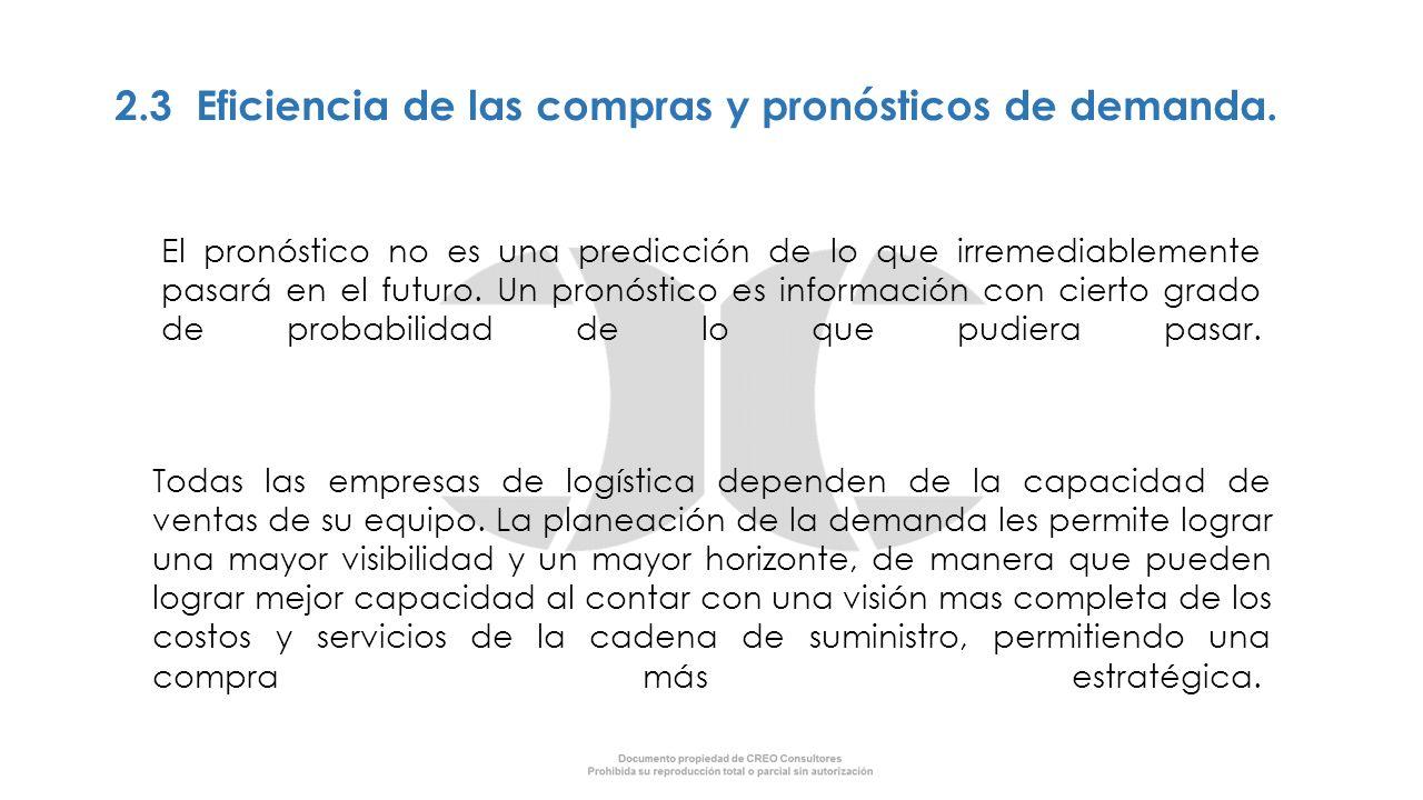 2.3 Eficiencia de las compras y pronósticos de demanda. El pronóstico no es una predicción de lo que irremediablemente pasará en el futuro. Un pronóst