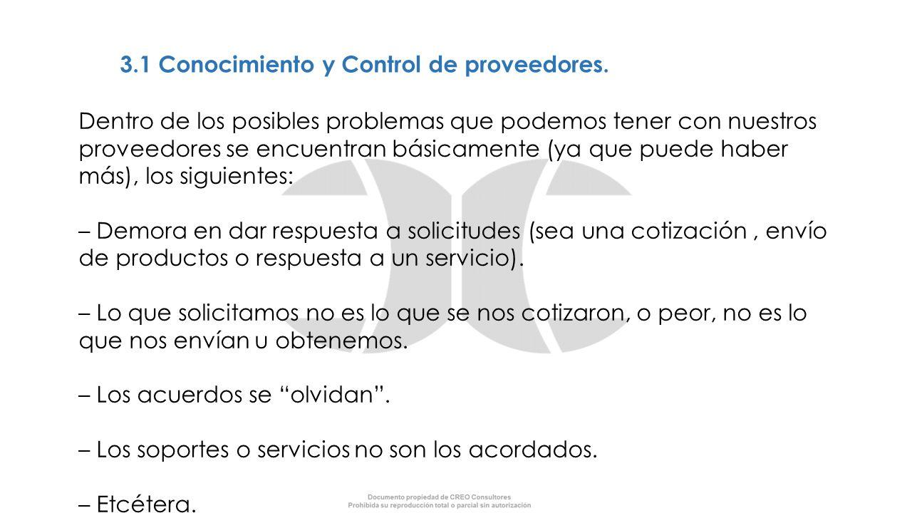 3.1 Conocimiento y Control de proveedores. Dentro de los posibles problemas que podemos tener con nuestros proveedores se encuentran básicamente (ya q