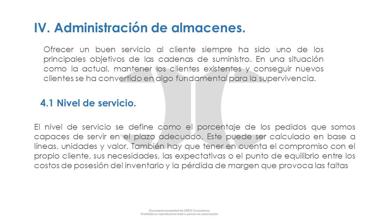 IV. Administración de almacenes. Ofrecer un buen servicio al cliente siempre ha sido uno de los principales objetivos de las cadenas de suministro. En