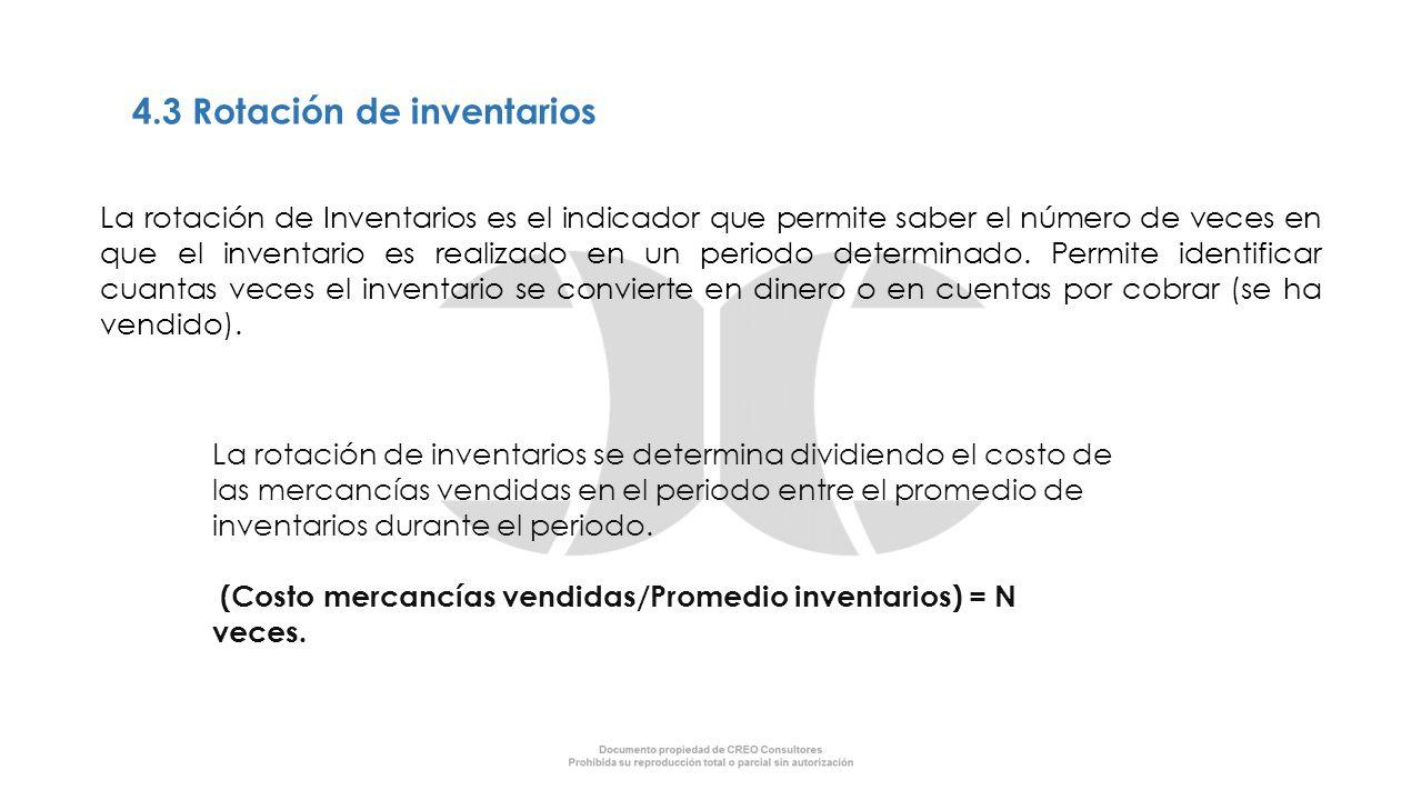 4.3 Rotación de inventarios La rotación de Inventarios es el indicador que permite saber el número de veces en que el inventario es realizado en un pe
