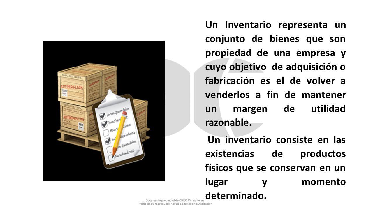 Un Inventario representa un conjunto de bienes que son propiedad de una empresa y cuyo objetivo de adquisición o fabricación es el de volver a venderl