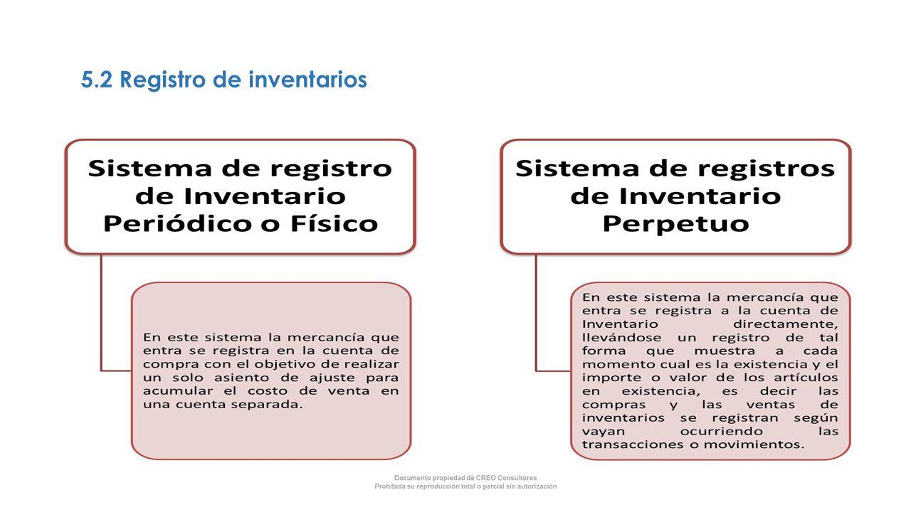 5.2 Registro de inventarios