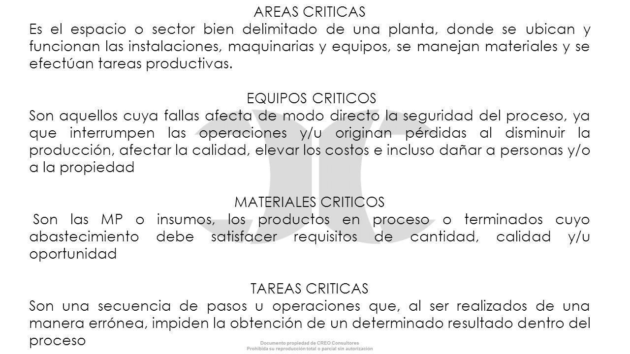 AREAS CRITICAS Es el espacio o sector bien delimitado de una planta, donde se ubican y funcionan las instalaciones, maquinarias y equipos, se manejan