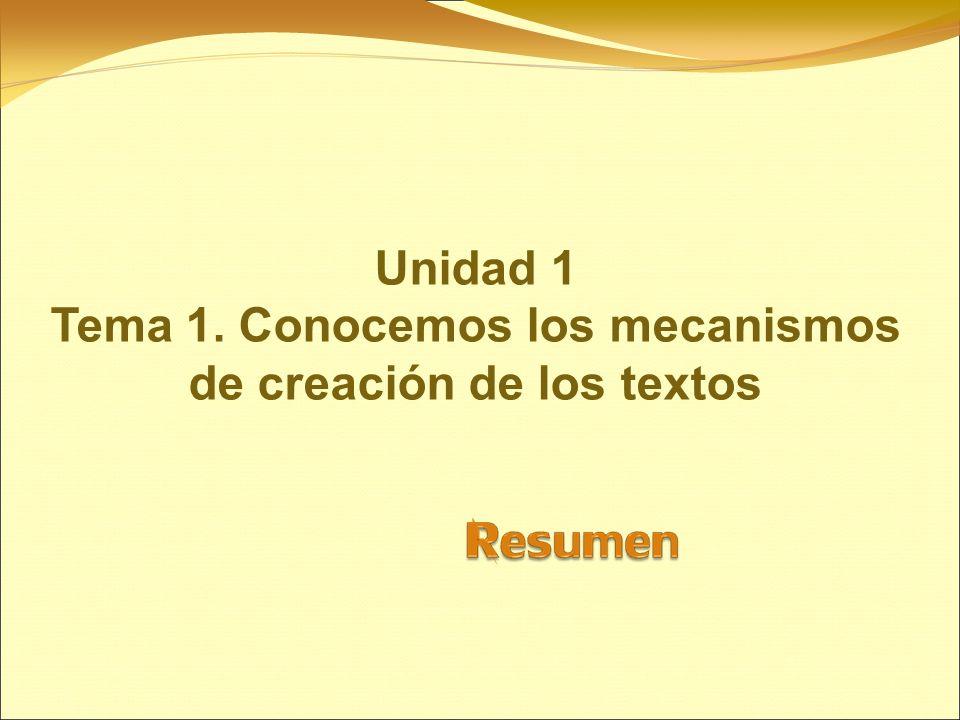 Unidad 1 Tema 1. Conocemos los mecanismos de creación de los textos
