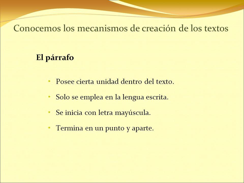 Conocemos los mecanismos de creación de los textos El párrafo Posee cierta unidad dentro del texto.