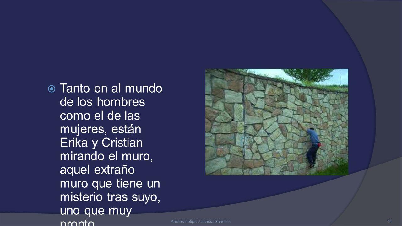  Tanto en al mundo de los hombres como el de las mujeres, están Erika y Cristian mirando el muro, aquel extraño muro que tiene un misterio tras suyo, uno que muy pronto averiguarán… 14Andrés Felipe Valencia Sánchez