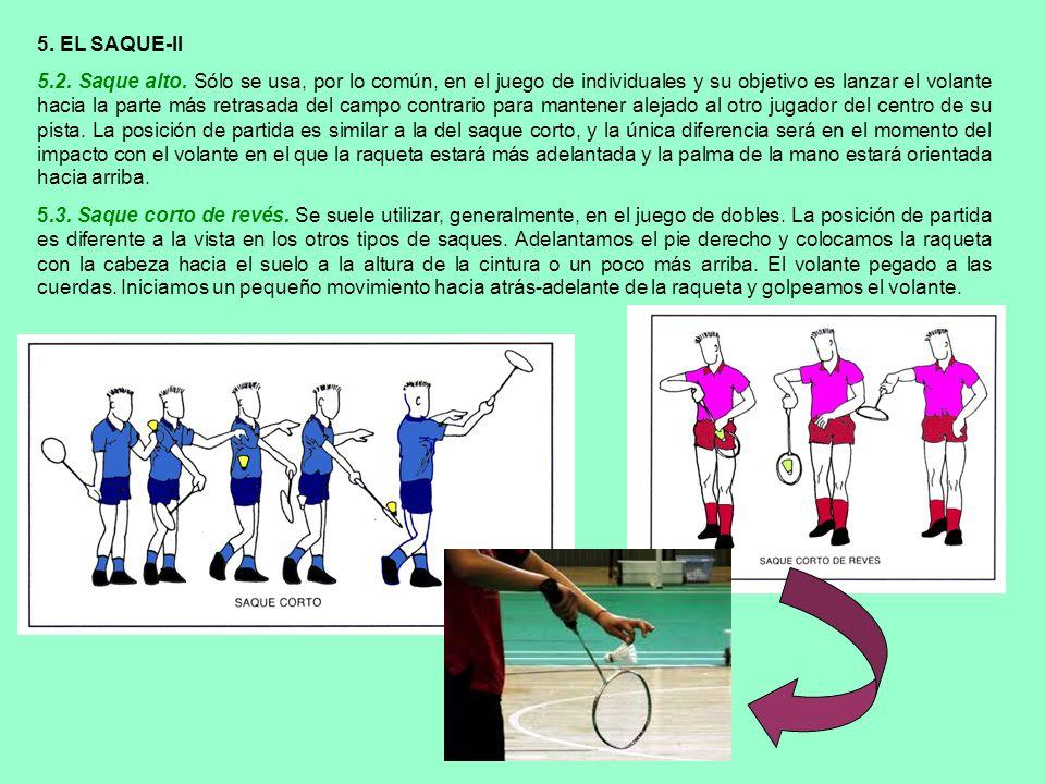 5. EL SAQUE-II 5.2. Saque alto. Sólo se usa, por lo común, en el juego de individuales y su objetivo es lanzar el volante hacia la parte más retrasada