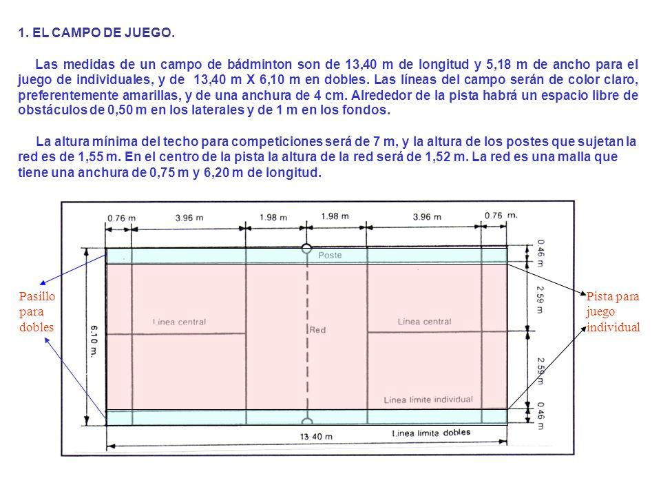 1. EL CAMPO DE JUEGO. Las medidas de un campo de bádminton son de 13,40 m de longitud y 5,18 m de ancho para el juego de individuales, y de 13,40 m X