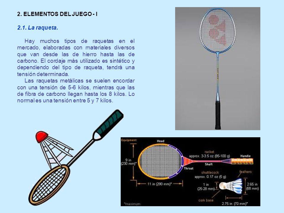 2. ELEMENTOS DEL JUEGO - I 2.1. La raqueta. Hay muchos tipos de raquetas en el mercado, elaboradas con materiales diversos que van desde las de hierro