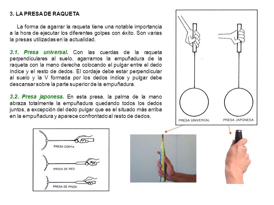 3. LA PRESA DE RAQUETA La forma de agarrar la raqueta tiene una notable importancia a la hora de ejecutar los diferentes golpes con éxito. Son varias