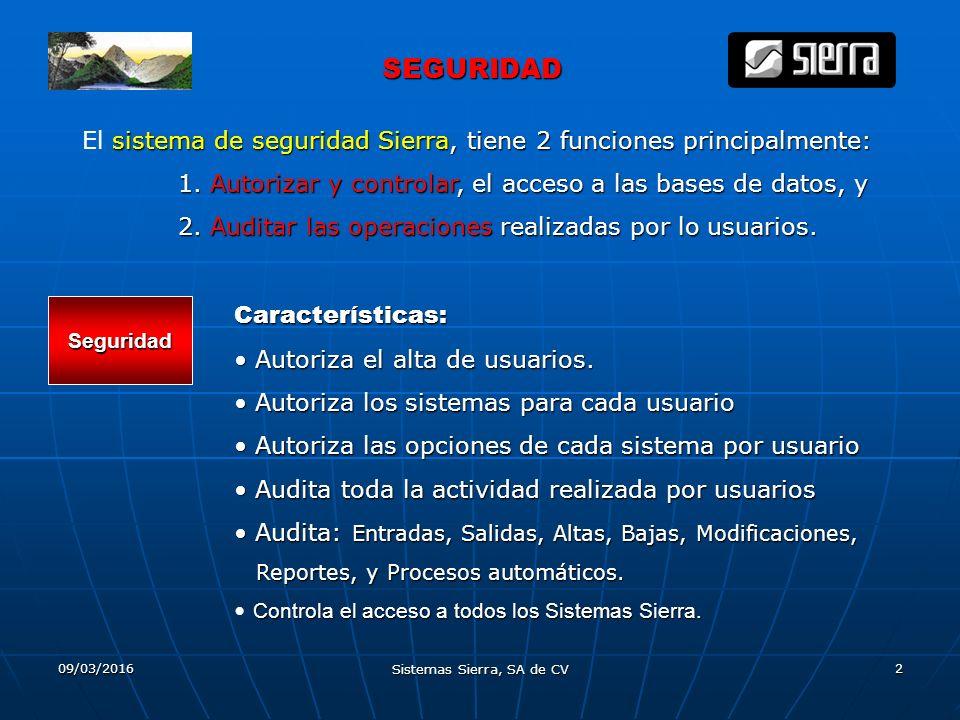 09/03/2016 Sistemas Sierra, SA de CV 2 SEGURIDAD SEGURIDAD El s ss sistema de seguridad Sierra, tiene 2 funciones principalmente: 1.