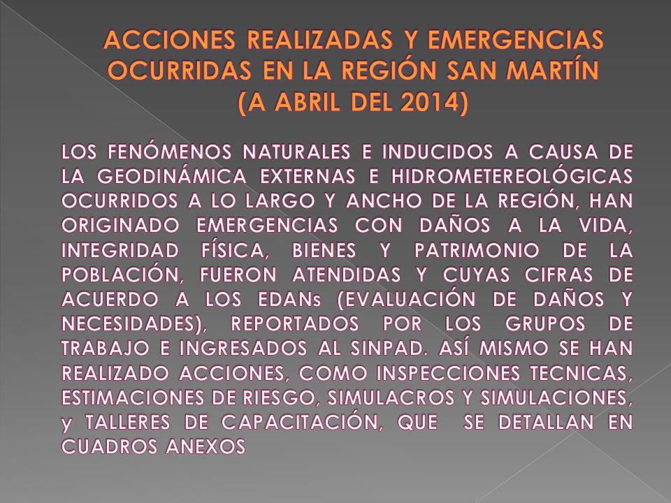 1 SIREDECI Avances y Logros del Gobierno Regional en la Estimación, Prevención y Reducción del Riesgo de Desastres GOBIERNO REGIONAL GOBIERNO REGIONAL SAN MARTÍN - MOYOBAMBA Abril - 2014