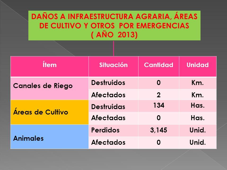 DAÑOS A INFRAESTRUCTURA PÚBLICA POR EMERGENCIAS ( AÑO 2013) ÍtemSituaciónCantidadUnidad Centros Educativos Destruidos0Unid.