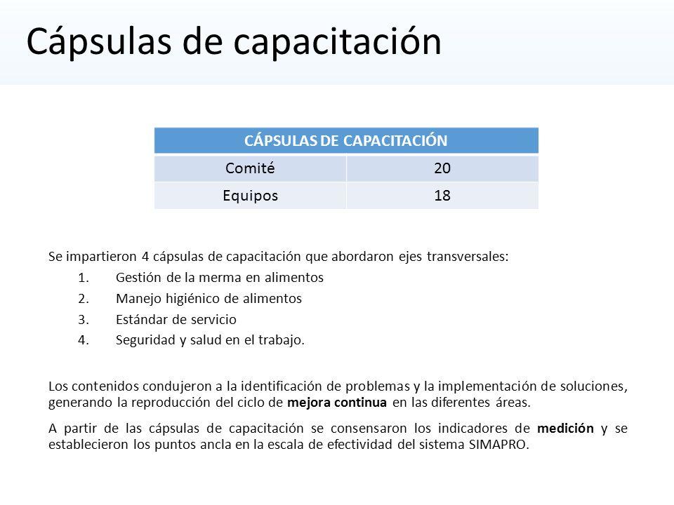 Cápsulas de capacitación Se impartieron 4 cápsulas de capacitación que abordaron ejes transversales: 1.Gestión de la merma en alimentos 2.Manejo higiénico de alimentos 3.Estándar de servicio 4.Seguridad y salud en el trabajo.