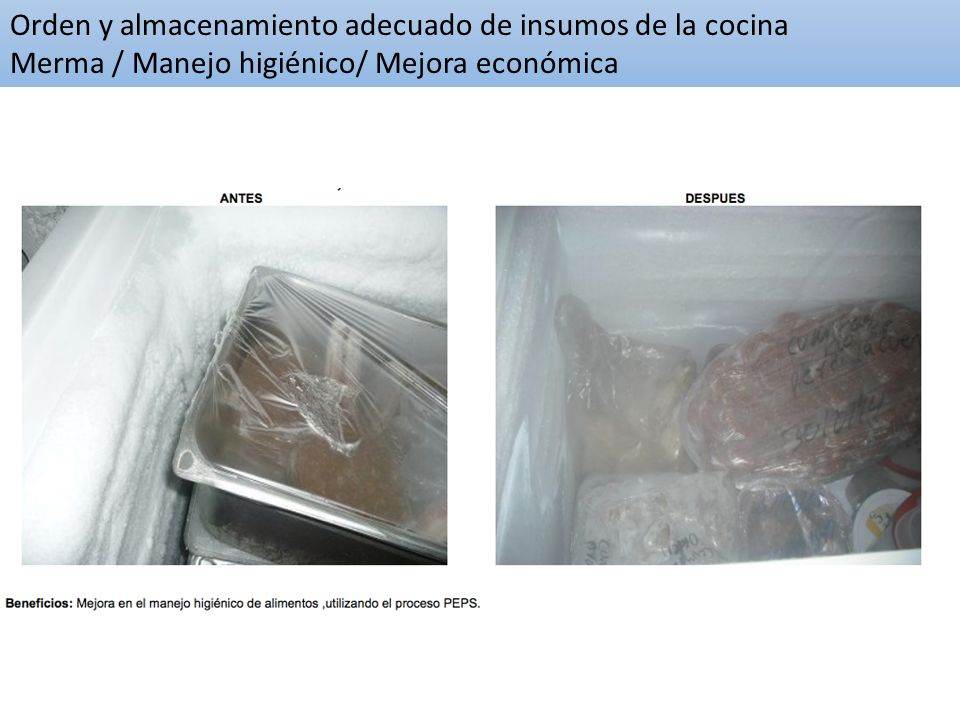 Orden y almacenamiento adecuado de insumos de la cocina Merma / Manejo higiénico/ Mejora económica
