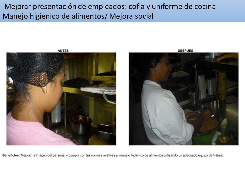 Mejorar presentación de empleados: cofia y uniforme de cocina Manejo higiénico de alimentos/ Mejora social