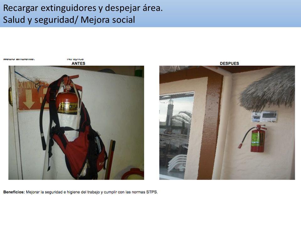 Recargar extinguidores y despejar área. Salud y seguridad/ Mejora social