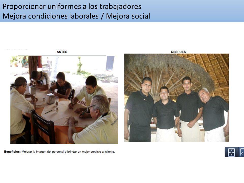 Proporcionar uniformes a los trabajadores Mejora condiciones laborales / Mejora social