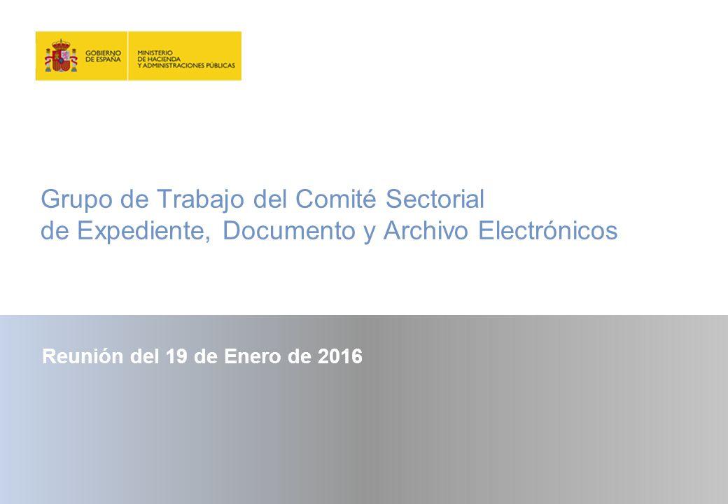 Grupo de Trabajo del Comité Sectorial de Expediente, Documento y Archivo Electrónicos Reunión del 19 de Enero de 2016