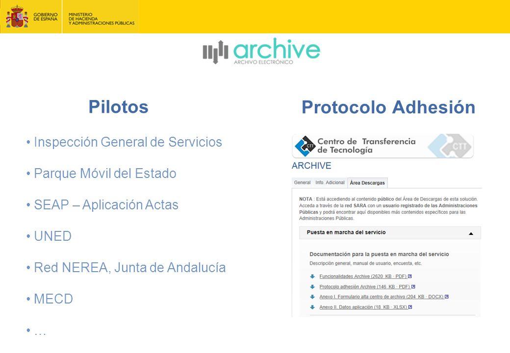 Pilotos Inspección General de Servicios Parque Móvil del Estado SEAP – Aplicación Actas UNED Red NEREA, Junta de Andalucía MECD … Protocolo Adhesión