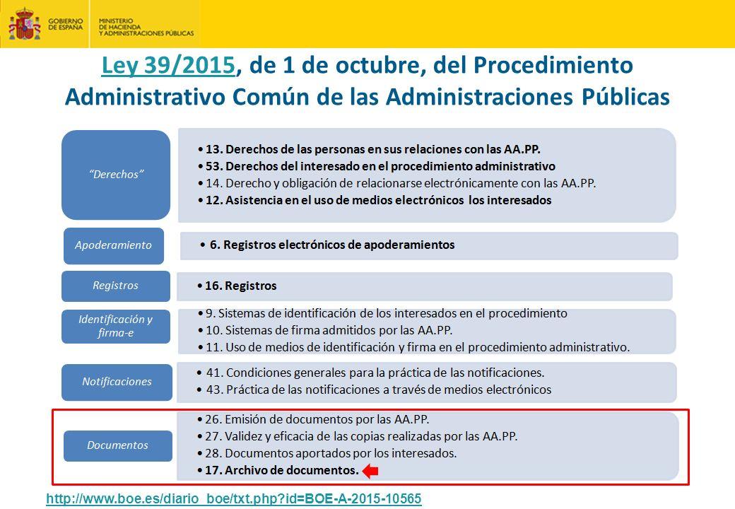 Ley 39/2015, de 1 de octubre, del Procedimiento Administrativo Común de las Administraciones Públicas http://www.boe.es/diario_boe/txt.php?id=BOE-A-2015-10565