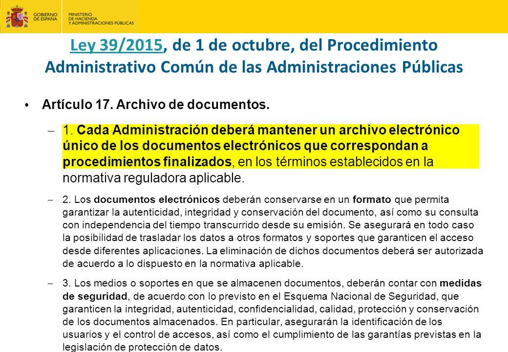 Artículo 17.Archivo de documentos. – 1.